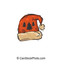 Hand drawn vector abstract fun Merry Christmas time cartoon doodle rustic festive illustration icon with cute holiday Santa Claus hat isolated on white background