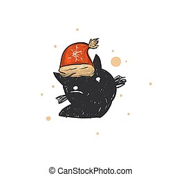 Hand drawn vector abstract fun Merry Christmas time cartoon doodle rustic festive illustration icon with cute holiday black cat in Santa Claus hat isolated on white background