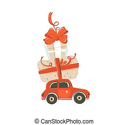 Hand drawn vector abstract fun Merry Christmas time cartoon illustration card with big red car toy and big surprise gift box isolated on white background.