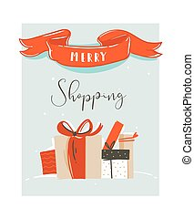 Hand drawn vector abstract fun Merry Christmas time cartoon illustration card with Christmas surprise gift boxes