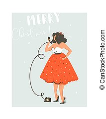 Hand drawn vector abstract fun Merry Christmas time cartoon illustration card with pretty girl in dress who talking on the phone isolated on blue background.