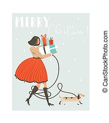 Hand drawn vector abstract fun Merry Christmas time cartoon illustration greeting card with girl in dress, dog and many surprise gift boxes on sleigh isolated on blue background