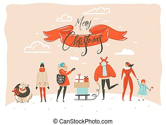 Hand drawn vector abstract fun Merry Christmas time cartoon illustration greeting card with group of people in winter clothing, surprise gift boxes and xmas calligraphy isolated on craft background