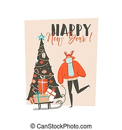 Hand drawn vector abstract fun Merry Christmas time cartoon illustration greeting card with man, surprise gift boxes, Christmas tree and xmas calligraphy isolated on craft background