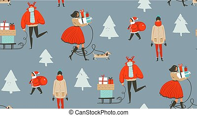 Hand drawn vector abstract fun Merry Christmas time cartoon illustration seamless pattern with people walking in winter clothing and surprise gift boxes isolated on grey background