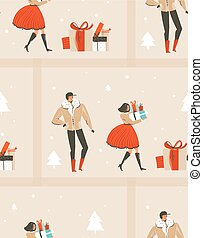 Hand drawn vector abstract fun Merry Christmas time cartoon illustration seamless pattern with people walking in winter clothing and surprise gift boxes isolated on blue background