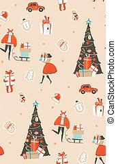 Hand drawn vector abstract fun Merry Christmas time cartoon illustration seamless pattern with group of people in winter clothing, many surprise gift boxes on sleigh and xmas tree isolated.