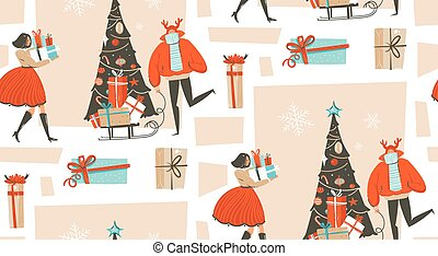 Hand drawn vector abstract fun Merry Christmas time cartoon illustration seamless pattern with group of people in winter clothing, many surprise gift boxes on sleigh and xmas tree isolated on white