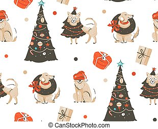 Hand drawn vector abstract fun Merry Christmas time cartoon illustration seamless pattern with many pet dogs in holidays costume and xmas trees isolated on white background