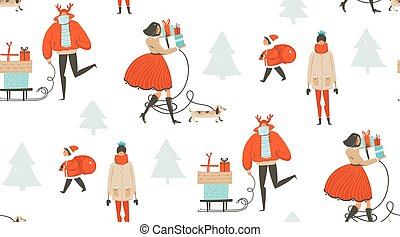 Hand drawn vector abstract fun Merry Christmas time cartoon illustration seamless pattern with people walking in winter clothing and surprise gift boxes isolated on white background