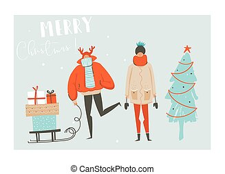 Hand drawn vector abstract fun Merry Christmas time cartoon illustration set with group of people in winter clothing, many surprise gift boxes on sleigh and xmas tree isolated on blue background