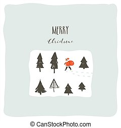 Hand drawn vector abstract fun Merry Christmas time cartoon illustration with young little boy in Santa Clasus costume walkin in pine frozen forest isolated on white background