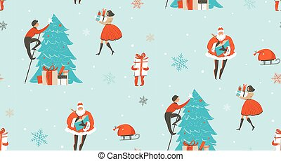Hand drawn vector abstract fun Merry Christmas time cartoon illustrations seamless pattern with people, kids, Santa Claus and surprise gift boxes isolated on snow blue background