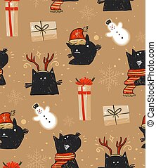 Hand drawn vector abstract fun Merry Christmas time cartoon rustic festive seamless pattern with cute illustrations of holiday black cats and surprise gift boxes isolated on brown background