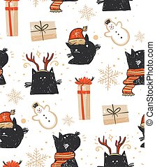 Hand drawn vector abstract fun Merry Christmas time cartoon rustic festive seamless pattern with cute illustrations of holiday black cats and surprise gift boxes isolated on white background