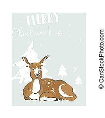 Hand drawn vector abstract fun Merry Christmas time illustration greeting card with deer and many xmas trees isolated on blue background.