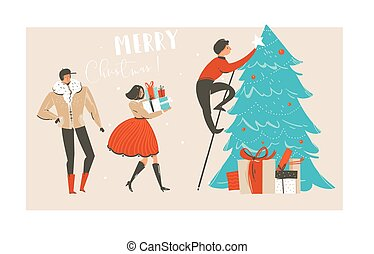 Hand drawn vector abstract fun Merry Christmas time illustration greeting card with group of people, many surprise gifts boxes and Christmas tree isolated on craft paper background.
