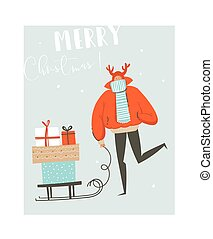 Hand drawn vector abstract fun Merry Christmas time illustration