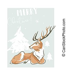 Hand drawn vector abstract fun Merry Christmas time illustration greeting card with reindeer and many xmas trees isolated on blue background.