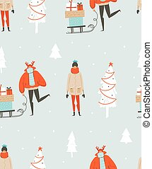 Hand drawn vector abstract fun Merry Christmas time illustration seamless pattern with people in winter clothing,many surprise gift boxes on sleigh and xmas trees isolated on blue background