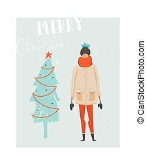 Hand drawn vector abstract fun Merry Christmas time illustration card with girl in winter clothing and Christmas tree isolated on blue background.