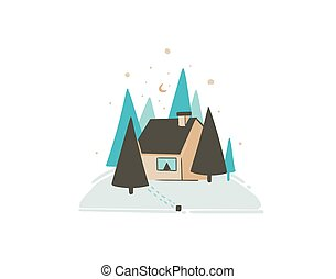 Hand drawn vector abstract fun Merry Christmas time cartoon card with cute illustration of Xmas landscape outdoor snow forest and noel house isolated on white background