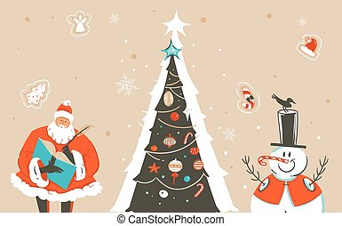 Hand drawn vector abstract fun Merry Christmas time cartoon illustration greeting card with Santa Claus,xmas tree,snowman and place for your text isolated on craft background