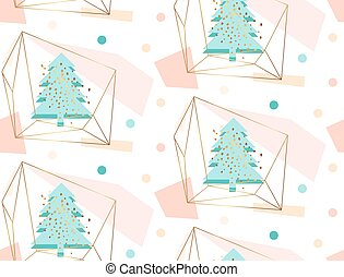 Hand drawn vector abstract geometric artistic christmas decoration seamless pattern illustration with christmas tree in gold terrarium in pastel, blue, gold, pink colors isolated on white background.