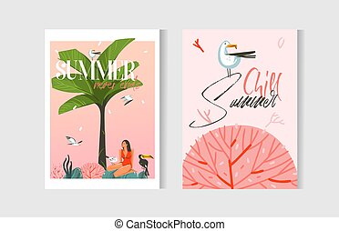 Hand drawn vector abstract graphic cartoon summer time flat illustrations cards template collection set with beach people,palm tree,sunset and marine coral reef isolated on white background