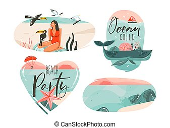 Hand drawn vector abstract graphic cartoon summer time flat illustrations sign collection set with girl, whale, sunset horizon, toucan birds and typography quotes isolated on white background