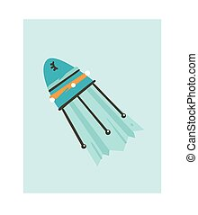 Hand drawn vector abstract graphic creative cartoon illustrations icon with simple galaxy unicorn spaceship rocket isolated on white background