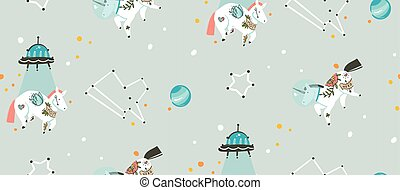 Hand drawn vector abstract graphic creative cartoon illustrations seamless pattern with cosmonaut unicorns with old school tattoo, alien spaceship and planets in cosmos isolated on grey background