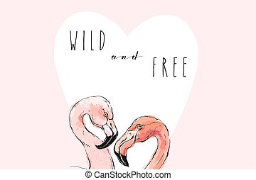Hand drawn vector abstract graphic freehand textured sketch pink flamingo drawing illustrations background with modern typography Wild and Free isolated on pink background