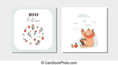 Hand drawn vector abstract greeting cartoon autumn cards set template with cute cat character collected apple harvest with modern typography