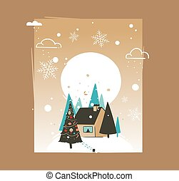 Hand drawn vector abstract Merry Christmas and Happy New Year time cartoon illustrations greeting card template with outdoor landscape, house and snowfall isolated on brown background