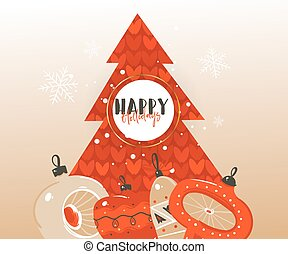 Hand drawn vector abstract Merry Christmas and Happy New Year time cartoon illustrations greeting header template with xmas tree bauble toys and typography text isolated on brown background