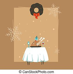 Hand drawn vector abstract Merry Christmas and Happy New Year time retro vintage cartoon illustrations greeting card with xmas dinner table,turkey and copy space isolated on brown background