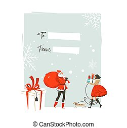 Hand drawn vector abstract Merry Christmas and Happy New...