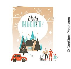 Hand drawn vector abstract Merry Christmas and Happy New Year time cartoon illustrations greeting card template with outdoor landscape,house and family people walking isolated on white background