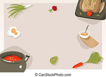 Hand drawn vector abstract modern cartoon cooking class concept illustrations poster card with copyspace and place for your text isolated on grey background