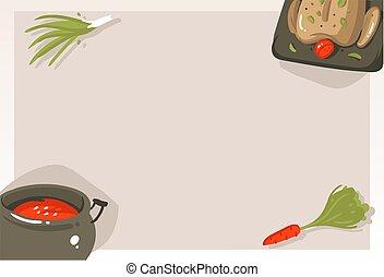 Hand drawn vector abstract modern cartoon cooking class...