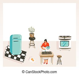 Hand drawn vector abstract modern cartoon cooking class illustrations poster with retro vintage woman chef,refrigerator and place for your text isolated on white background