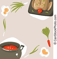 Hand drawn vector abstract modern cartoon cooking studio illustrations poster card with food,vegetables and copyspace place isolated on grey background
