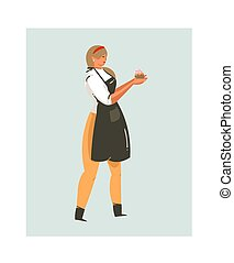 Hand drawn vector abstract modern cartoon cooking time fun illustrations icon with cooking chef woman in black apron holds cupcake isolated on white background