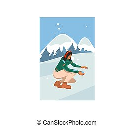 Hand drawn vector abstract stock flat Merry Christmas,and Happy New Year time cartoon festive card with cute illustrations of Xmas happy girl walking isolated on winter landscape background