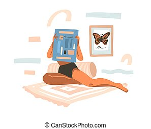 Hand drawn vector abstract stock graphic illustration with young female reading newspaper at home and abstract collage shapes isolated on white background