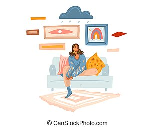 Hand drawn vector abstract stock graphic illustration with young melancholy female at home sitting on sofa and dreaming isolated on white background