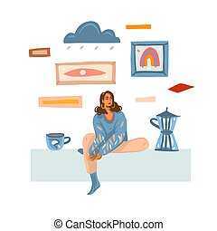 Hand drawn vector abstract stock graphic illustration with young melancholy female making and drinking coffee at home isolated on white background