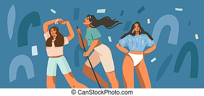 Hand drawn vector abstract stock graphic illustration with young smiling females dancing party at home and collage shapes isolated on color background
