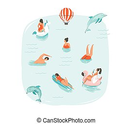 Hand drawn vector abstract summer time fun illustration with swimming happy people with jumping dolphins,hot air balloon,unicorn and pink flamingo buoys floats on blue water background isolated